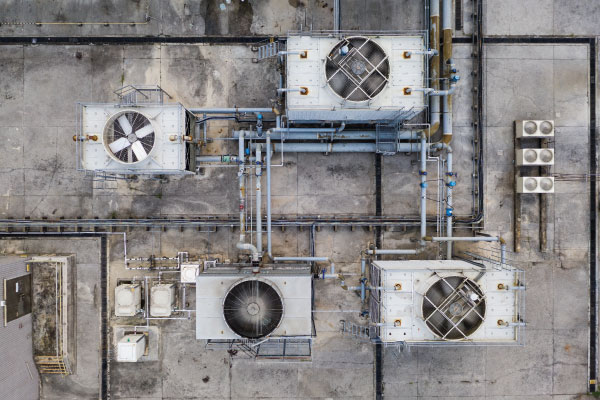 Aerial view of HVAC equipment