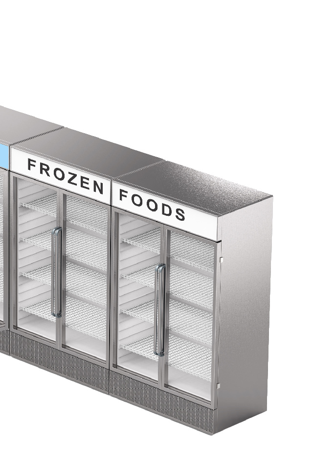 Right half of a fridge and freezer illustration with dots linking to sensor types
