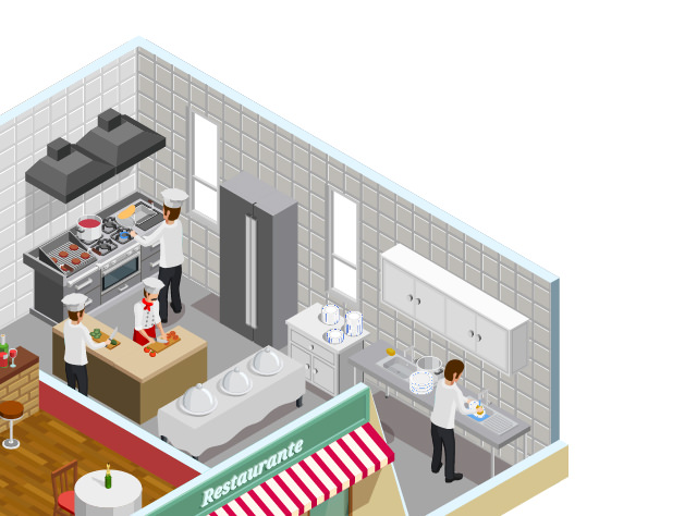 Top right quarter of a restaurant illustration with dots linking to sensor types