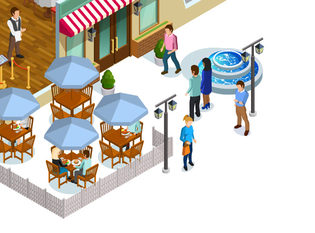 Bottom right quarter of a restaurant illustration with dots linking to sensor types