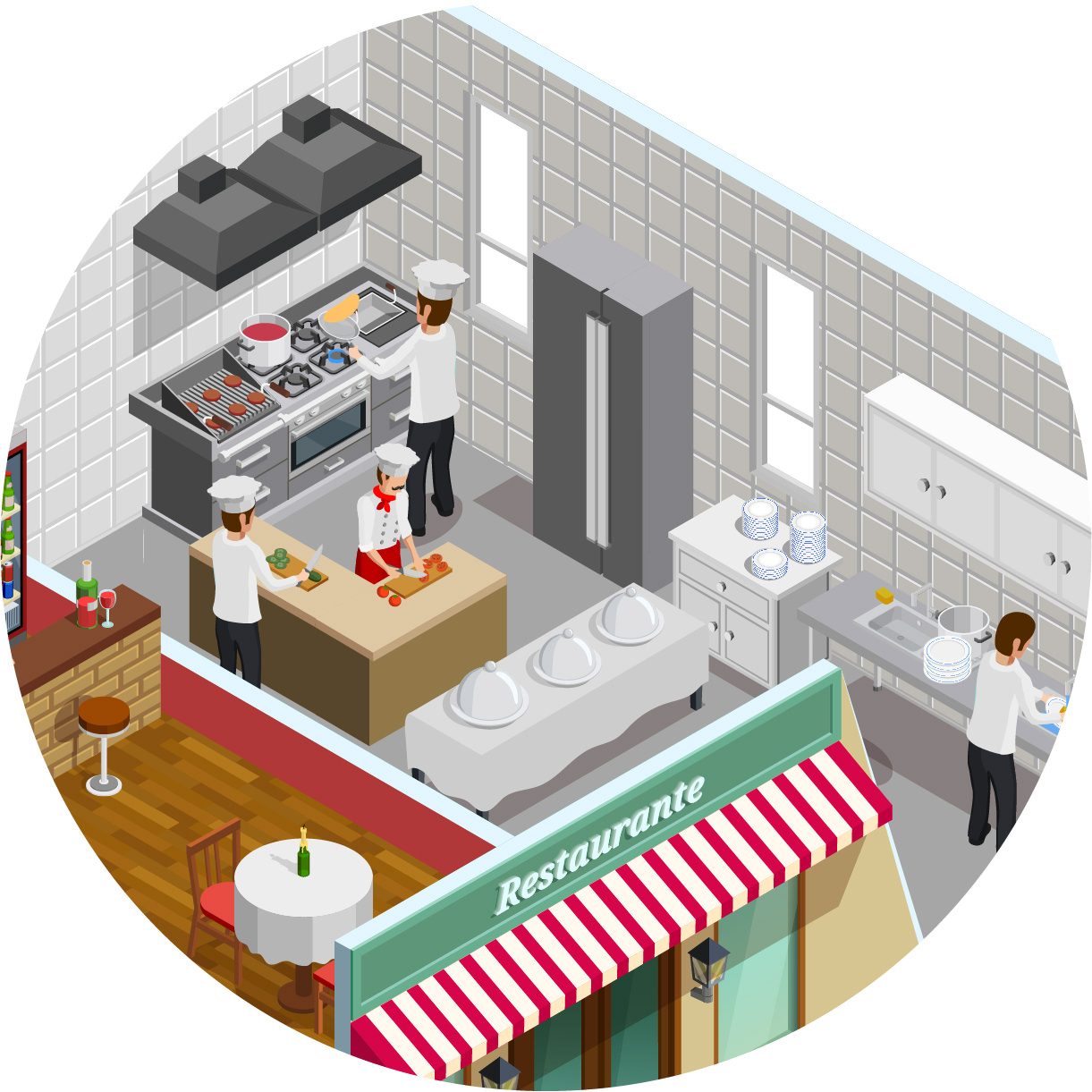 Top right detail of the restaurant illustration with sensor location dots in the kitchen