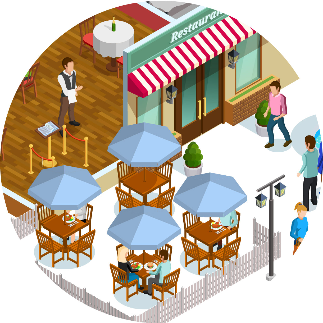 Bottom right detail of the restaurant illustration with sensor location dots on the patio