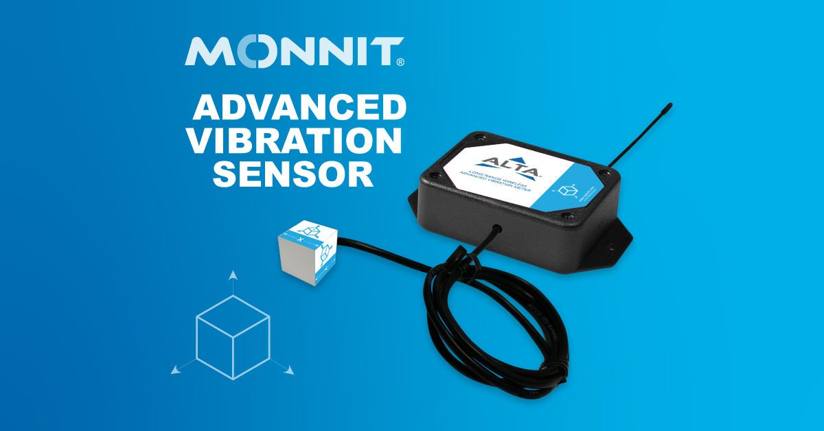 Monnit ALTA Wireless Advanced Vibration Meter and Monnit Logo