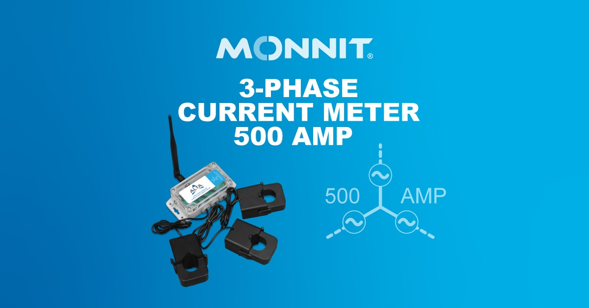 Monnit ALTA Wireless 3-Phase Current Meter—500 Amp, current meter icon, and the Monnit Logo