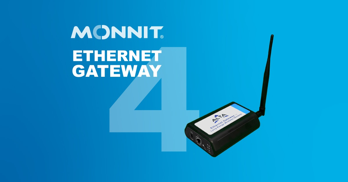 Monnit ALTA Ethernet Gateway 4 and Monnit Logo