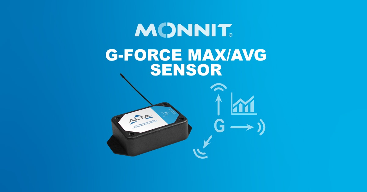 Monnit ALTA G-Force Max-Avg Wireless Sensor and Monnit Logo