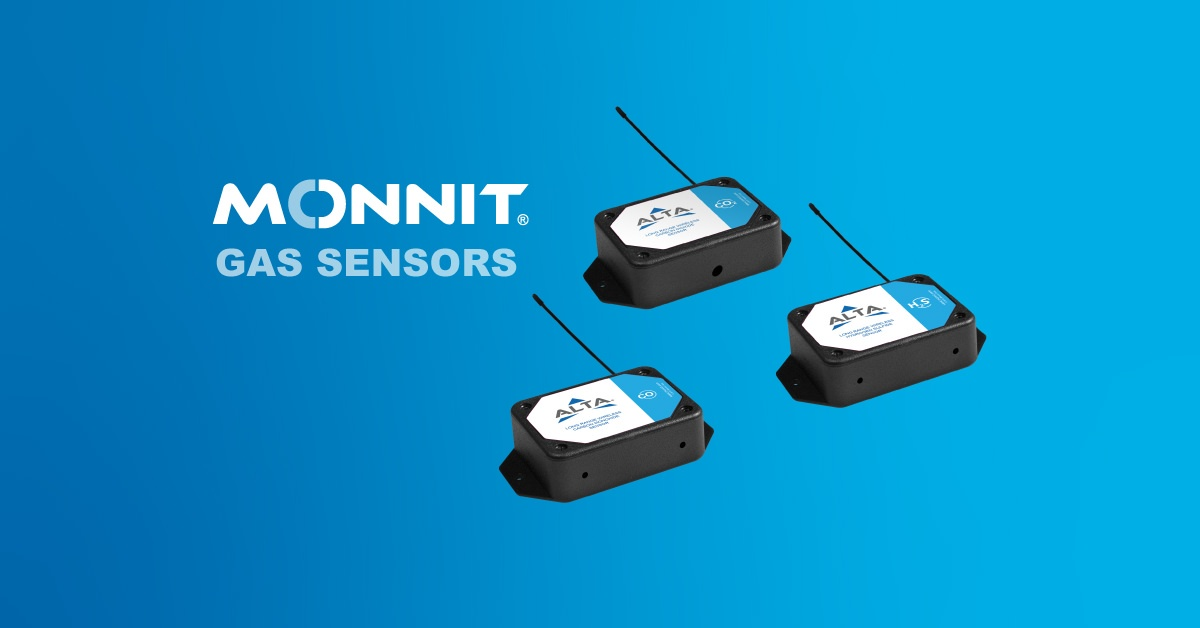 Monnit H2S, CO, and CO2 Sensors with the Monnit Logo and 'gas sensors' text