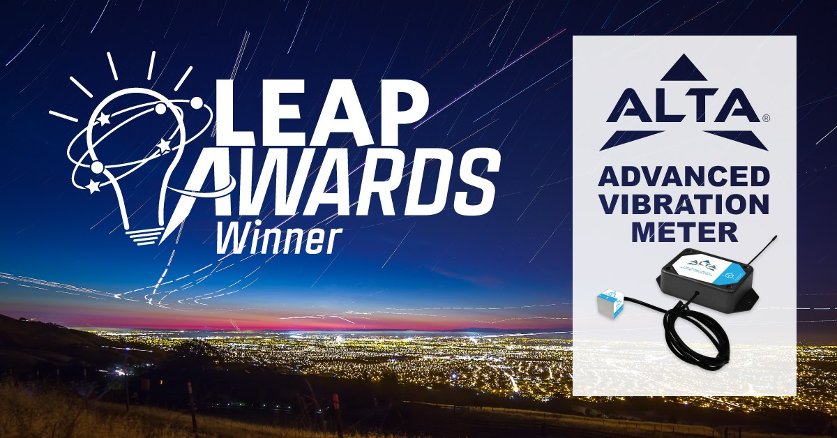 LEAP Awards Winner Logo with the ALTA Logo and the Monnit ALTA Advanced Vibration Meter