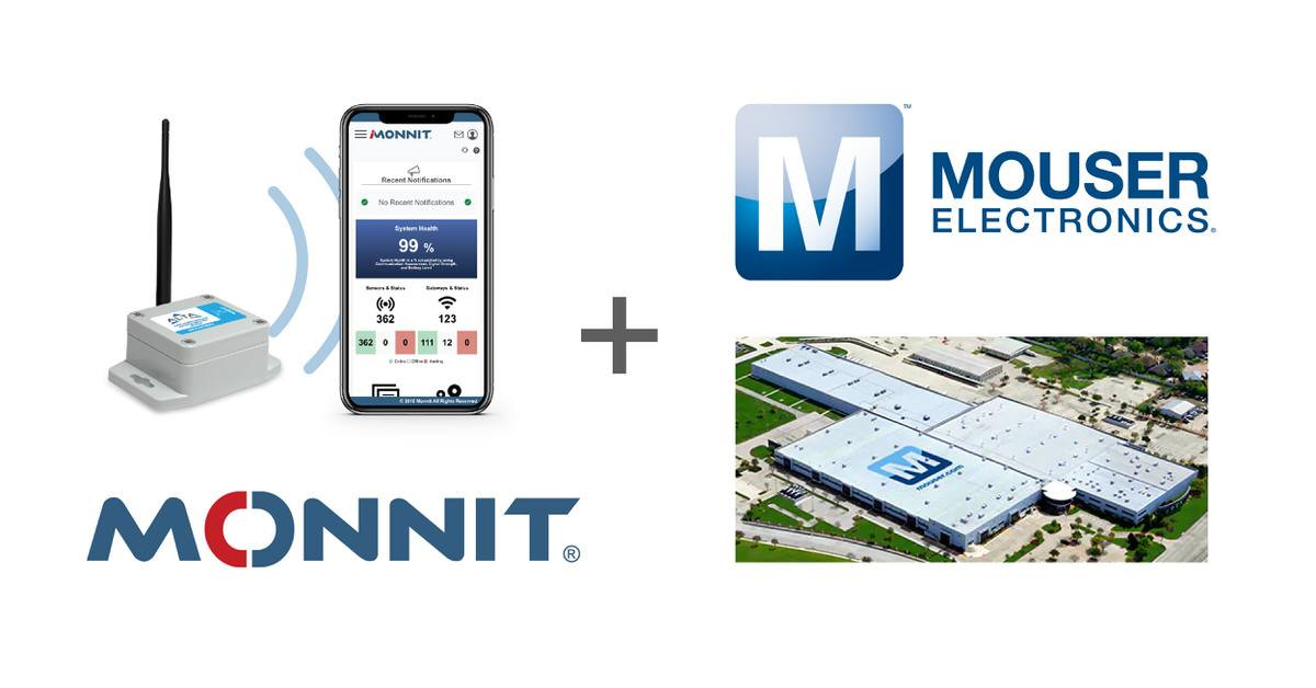 Logos of Monnit Corporation and Mouser Electronics, Inc. with a Monnit ALTA Sensor and a Mouser warehouse