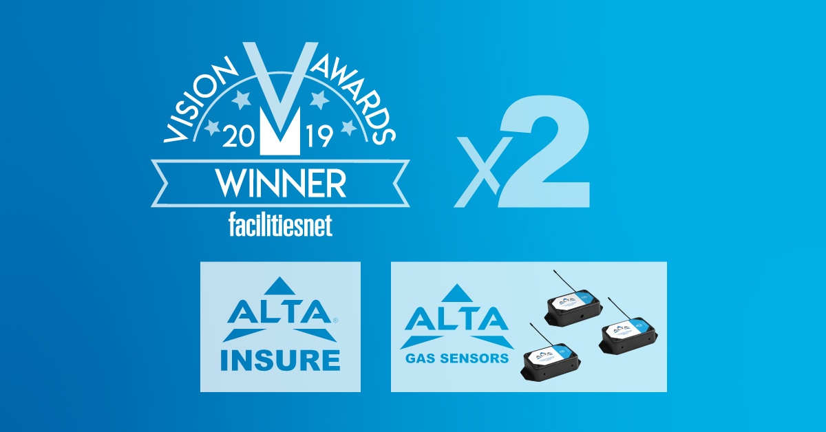 Vision Awards 2019 Winner Facilities.net Logo x2 ALTA Insure Logo and ALTA Gas Sensors Logo
