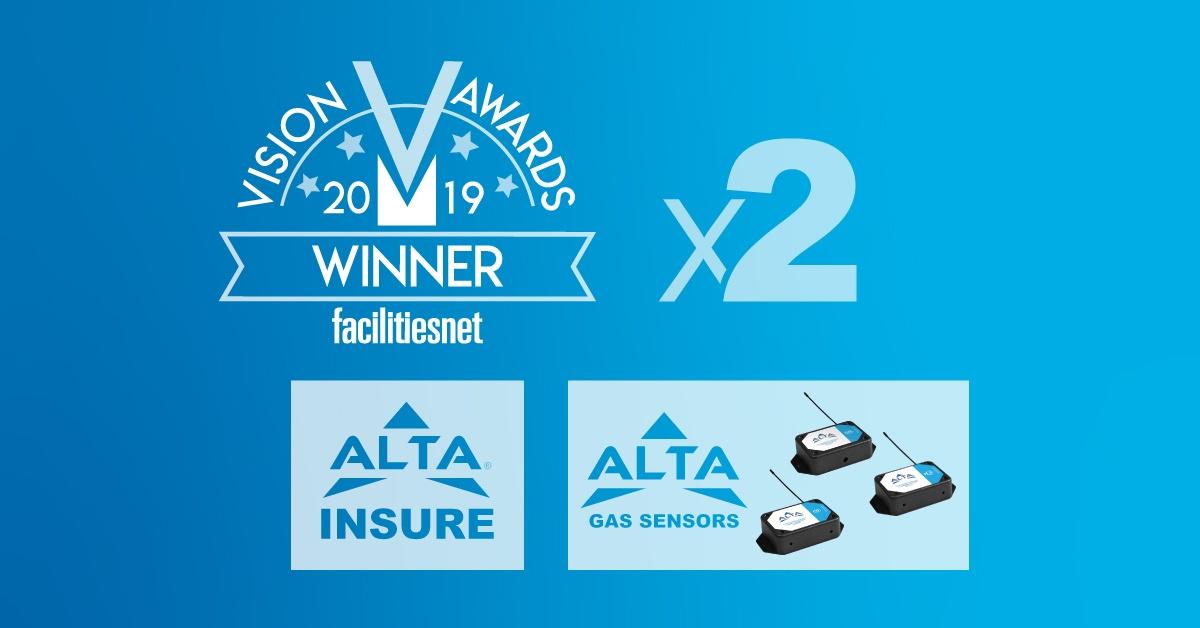 Vision Awards 2019 Winner Facilities.net Logo x2 ALTA Insure Logo and ALTA Gas Sensors Logo