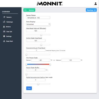 iMonnit Express 4.0 settings