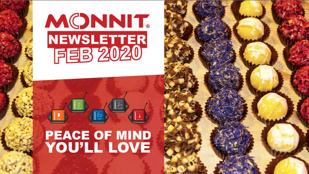 Fine chocolates overlayed by the words 'Peace of Mind You'll Love' and the Monnit Newsletter Logo