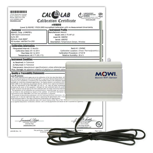Monnit Wi-Fi Temperature Sensor With 3 Ft Probe and NIST Certificate