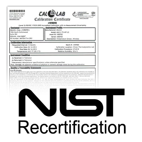 NIST Re-certification for Humidity Sensors