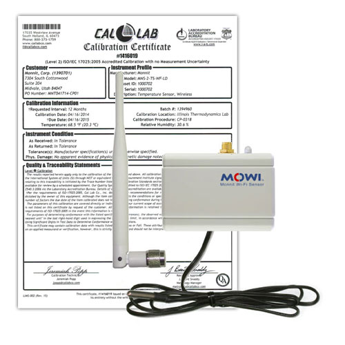 Monnit Wi-Fi Temperature Sensor With 3 Ft Probe, High Gain Antenna and NIST Certificate