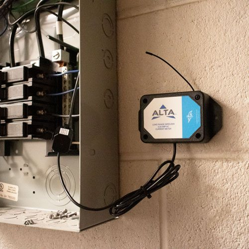 Wireless 20 Amp AC current meter on electrical panel