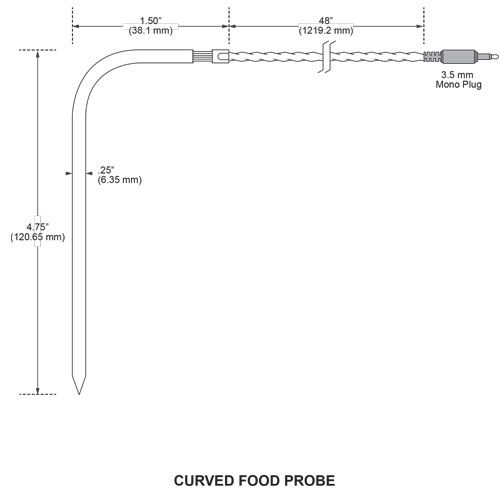 included curved handle probe measurements